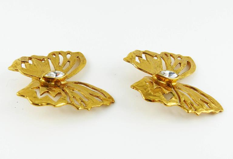 Yves Saint Laurent YSL Jewelled Butterfly Clip-On Earrings For Sale 1