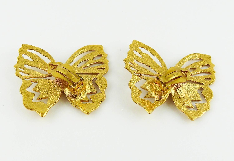 yves laurent ysl jewelled butterfly clip on earrings
