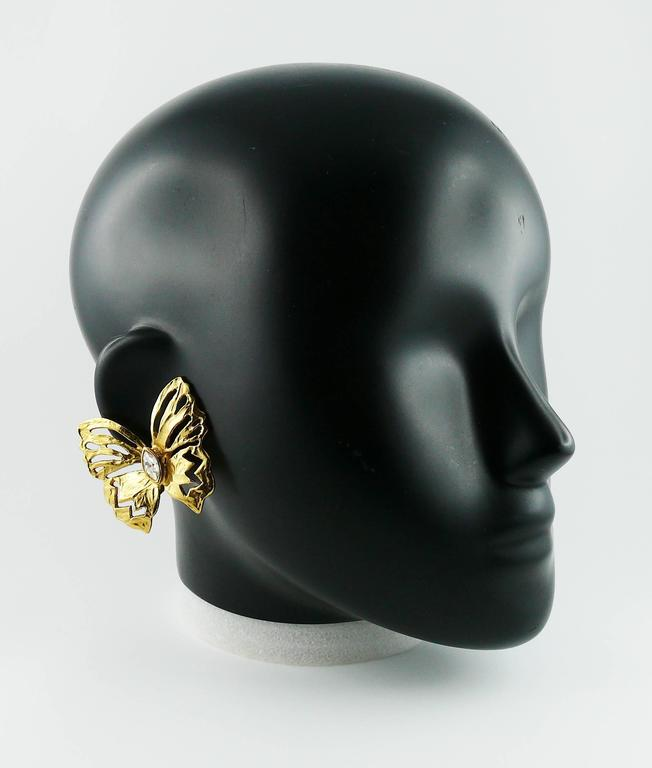 YVES SAINT LAURENT gorgeous jewelled cut-out butterfly clip-on earrings.