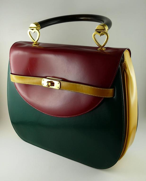 Moschino Vintage Color Block Leather Handbag h5Jt088S0F