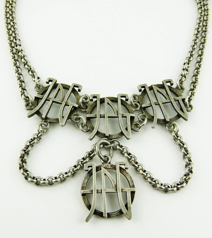 jean paul gaultier vintage silver tone logo necklace for