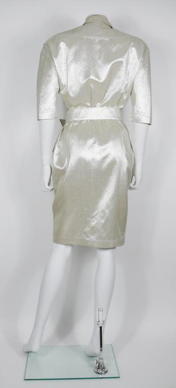 Thierry Mugler Vintage Gold Lurex Wrap Dress In Excellent Condition For Sale In French Riviera, Cote d'Azur