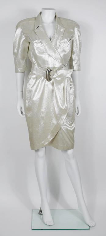 Gray Thierry Mugler Vintage Gold Lurex Wrap Dress For Sale