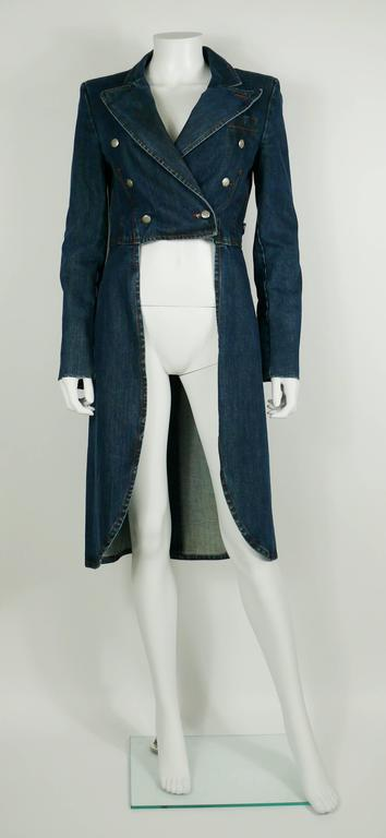 Black Jean Paul Gaultier Denim Tailcoat For Sale