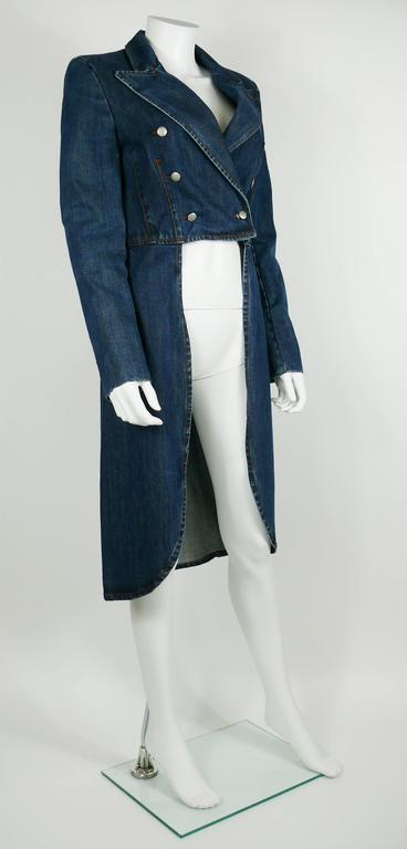 Jean Paul Gaultier Denim Tailcoat In Excellent Condition For Sale In French Riviera, FR