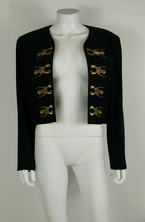Moschino Couture Vintage Rare Iconic 1989 Black Lobster Blazer 3