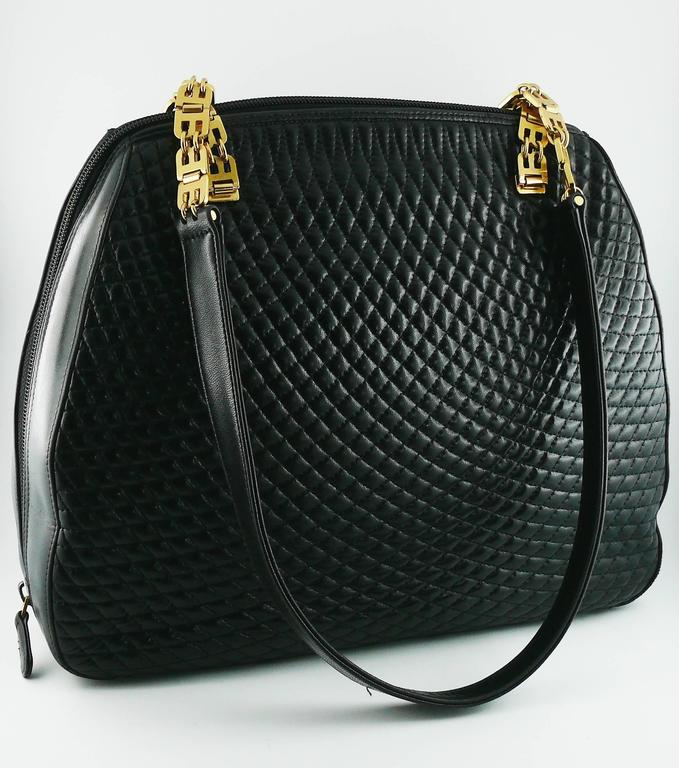 Bally Vintage Quilted Black Leather Shoulder Bag Featuring Logo Chain Strap Gold Tone Hardware