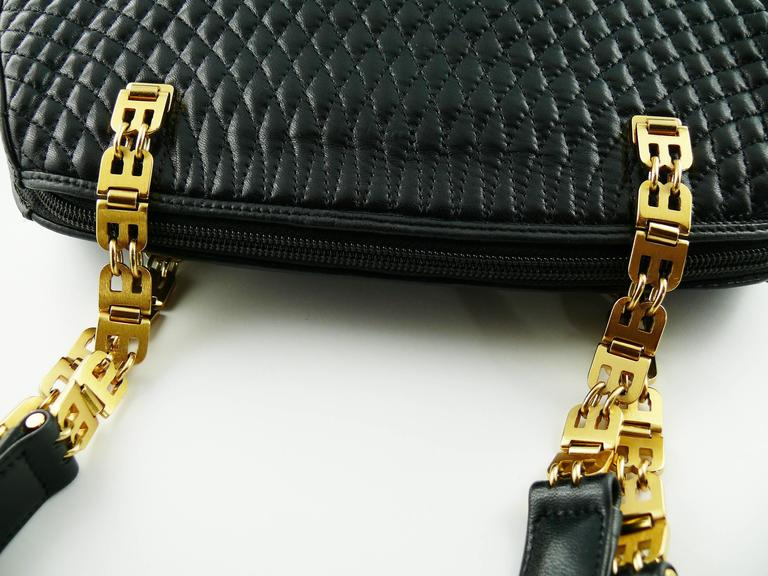 Bally Vintage Quilted Black Leather Shoulder Gold Chain