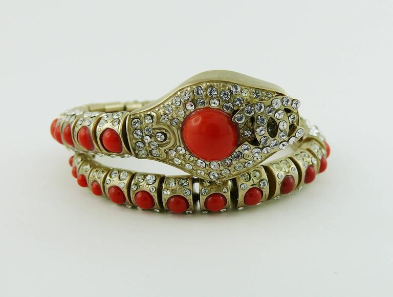 Chanel Jewelled Articulated Snake Bracelet  For Sale 2
