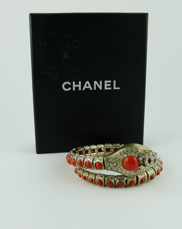 Chanel Jewelled Articulated Snake Bracelet  In Excellent Condition For Sale In French Riviera, FR