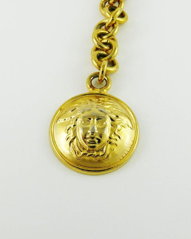Women's Gianni Versace Vintage Black Leather and Gold Tone Medusa Link Belt/Necklace For Sale