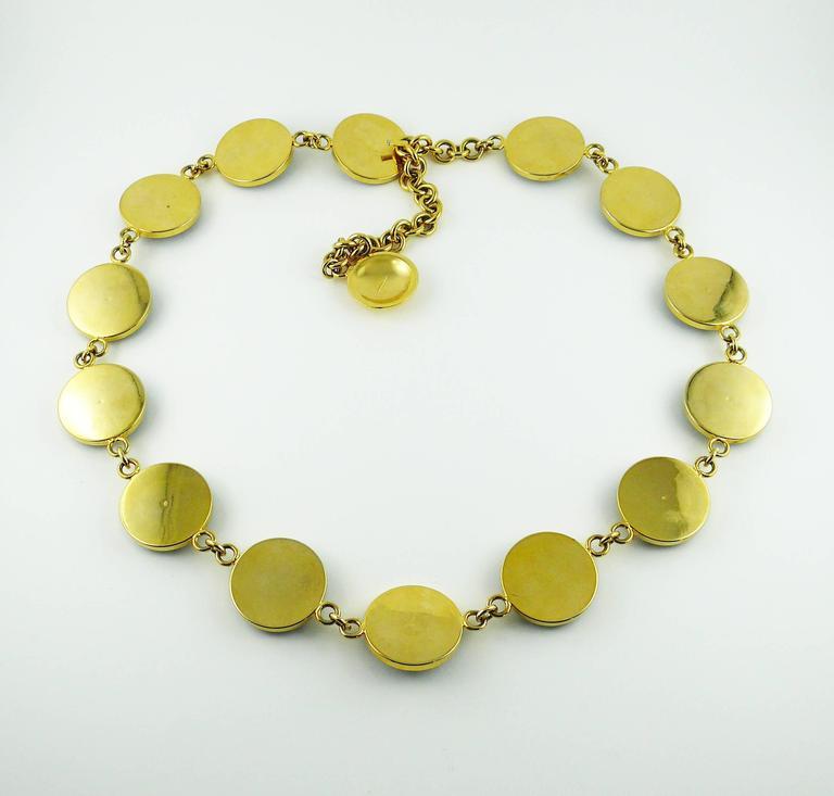 Gianni Versace Vintage Black Leather and Gold Tone Medusa Link Belt/Necklace For Sale 1