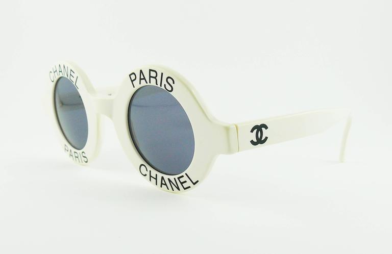 Gray Chanel Extremely Rare Vintage 1990s White Logo Sunglasses For Sale