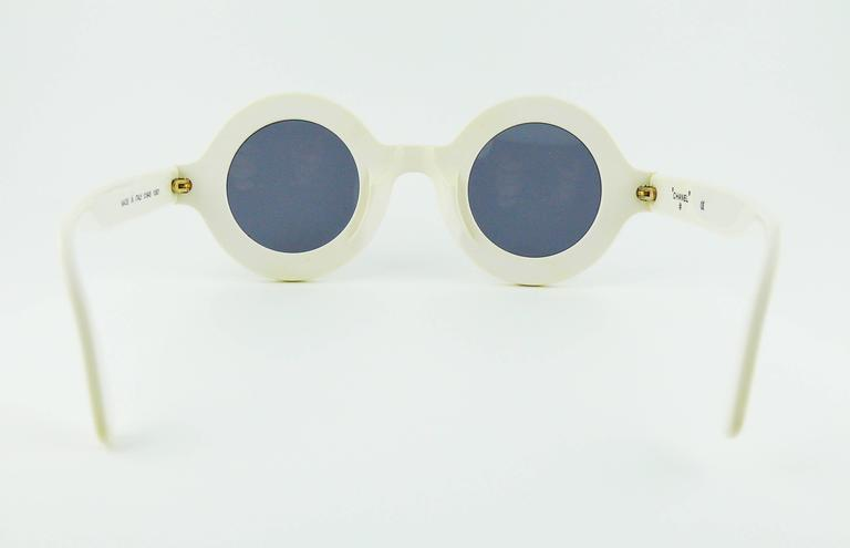 Chanel Extremely Rare Vintage 1990s White Logo Sunglasses 5