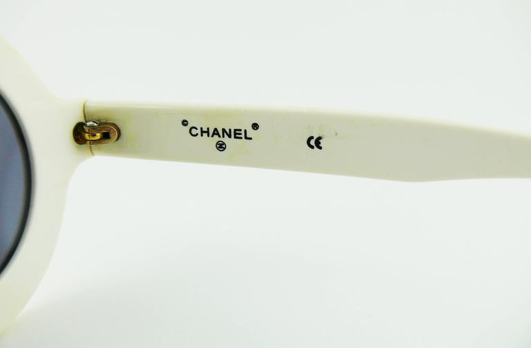 Chanel Extremely Rare Vintage 1990s White Logo Sunglasses 7