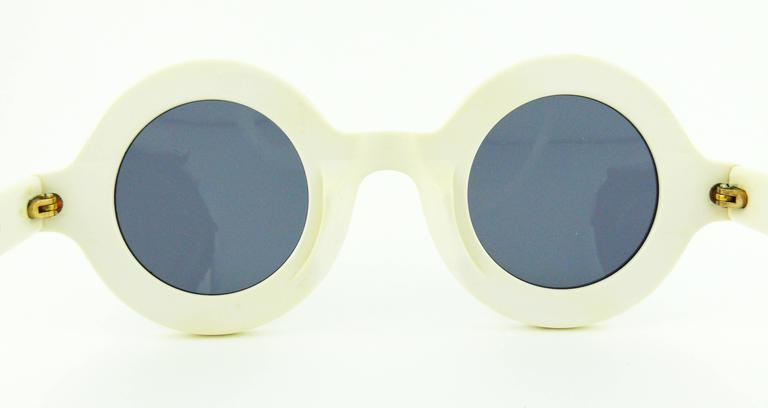 Chanel Extremely Rare Vintage 1990s White Logo Sunglasses 6