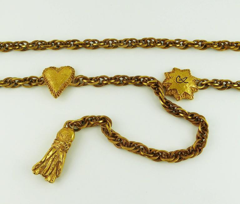 Brown Christian Lacroix Vintage Chain Belt/Necklace Heart, Sun and Tassel For Sale