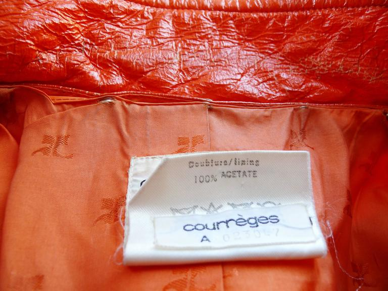Andre Courreges Vintage Orange Vinyl Trench Coat with Oversized Logo 6