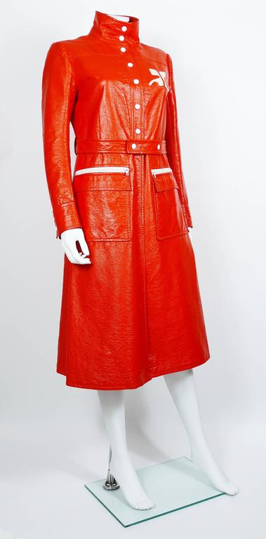 Andre Courreges Vintage Orange Vinyl Trench Coat with Oversized Logo 2
