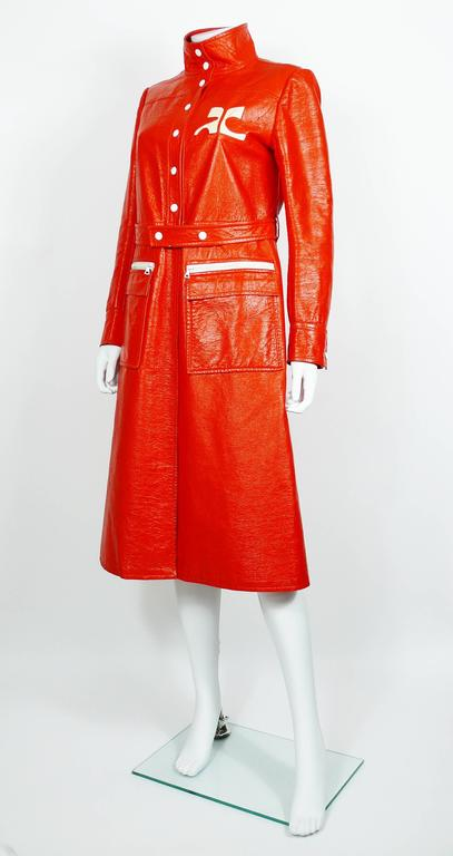 Andre Courreges Vintage Orange Vinyl Trench Coat with Oversized Logo 3