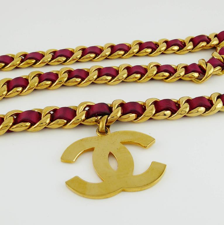 Chanel Vintage Iconic Gold Tone Belt with Fuschia Leather and Large CC Logos 4
