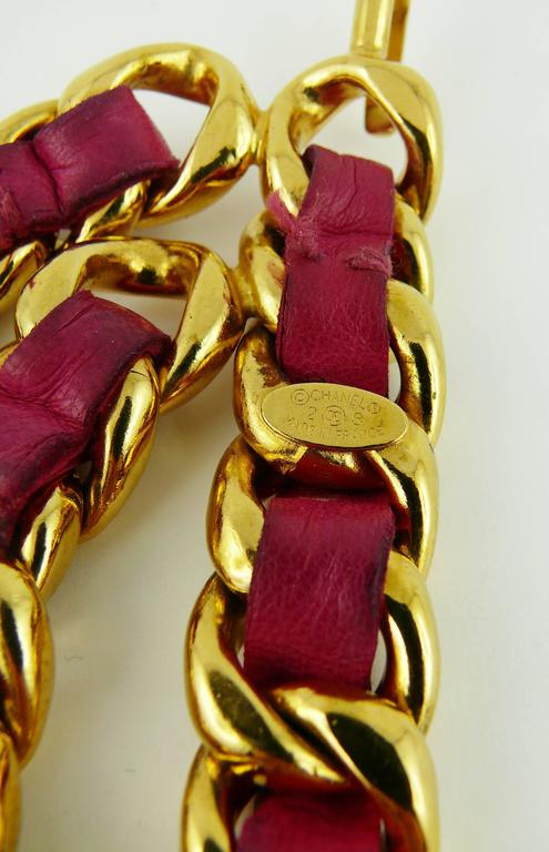 Chanel Vintage Iconic Gold Tone Belt with Fuschia Leather and Large CC Logos 8