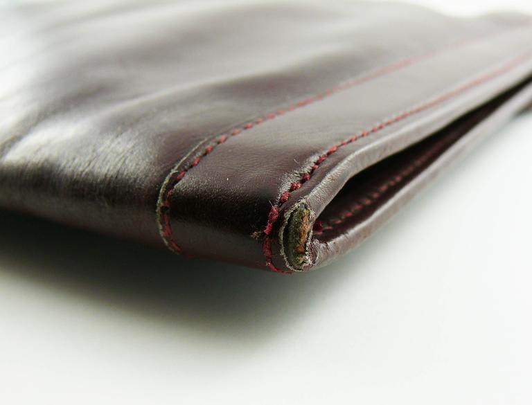 Hermes Vintage 1975 Jige Bordeaux Box Leather Clutch GM Size 7