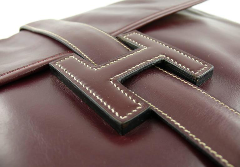 Hermes Vintage 1975 Jige Bordeaux Box Leather Clutch GM Size 3