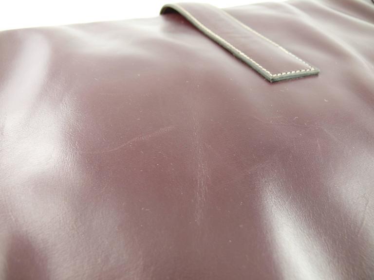Hermes Vintage 1975 Jige Bordeaux Box Leather Clutch GM Size 9