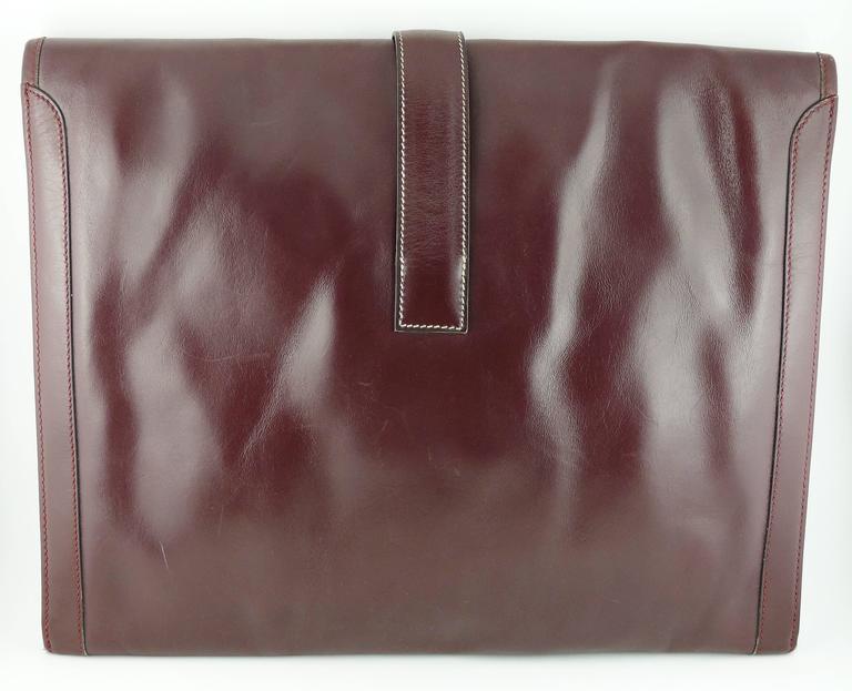 Hermes Vintage 1975 Jige Bordeaux Box Leather Clutch GM Size 6