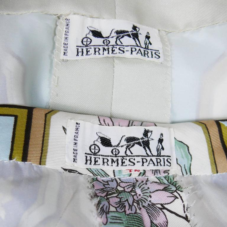 "Hermes Vintage ""Flora Botanica"" Silk Print Blouse and Shorts Set 7"
