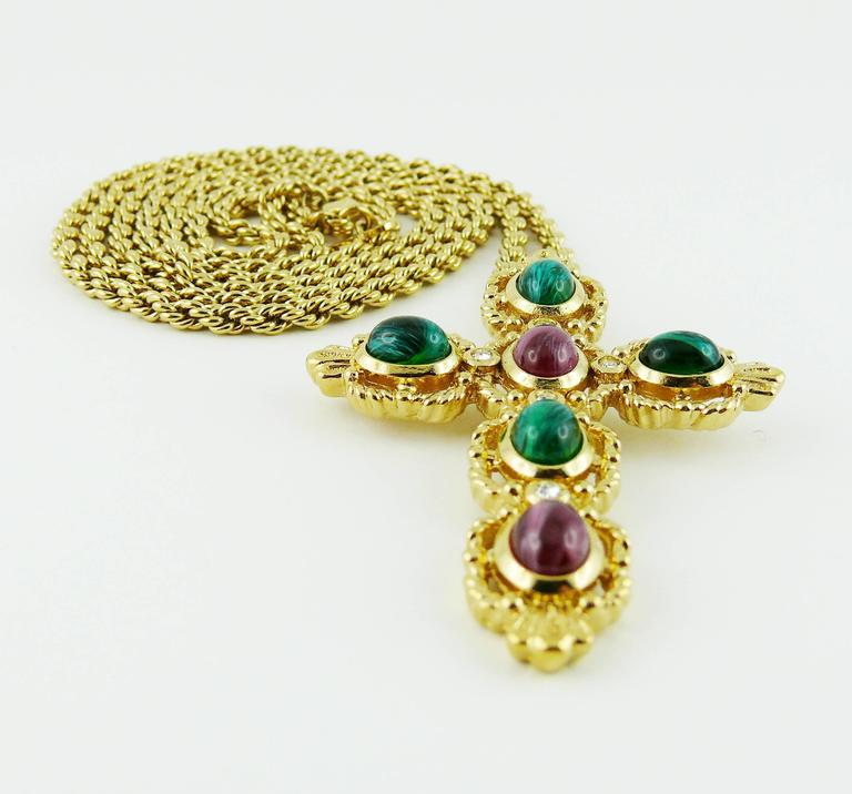 Christian Dior Vintage Jewelled Cross Pendant Necklace 4