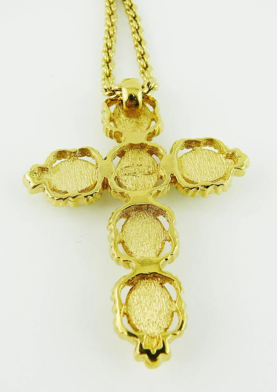 Christian Dior Vintage Jewelled Cross Pendant Necklace 7