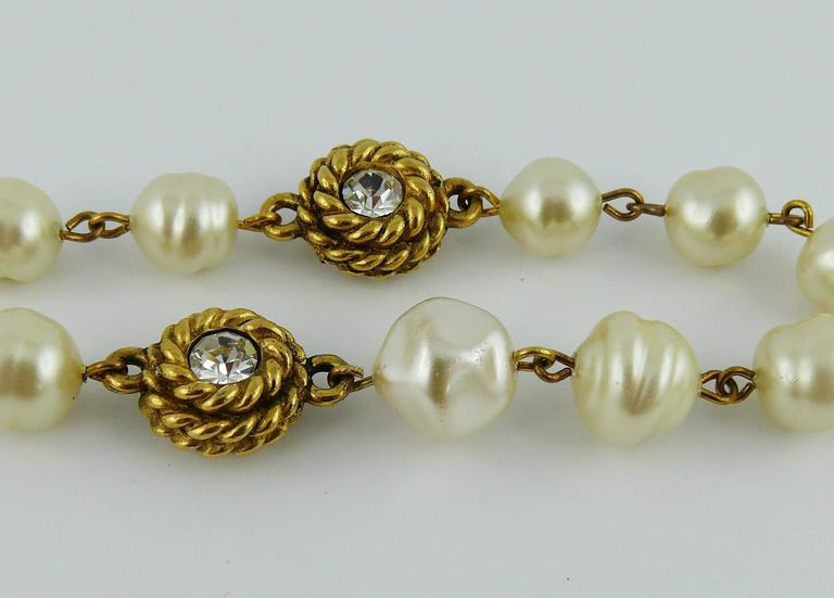 Chanel Vintage 1980s Classic Pearl and Crystal Sautoir Necklace 9