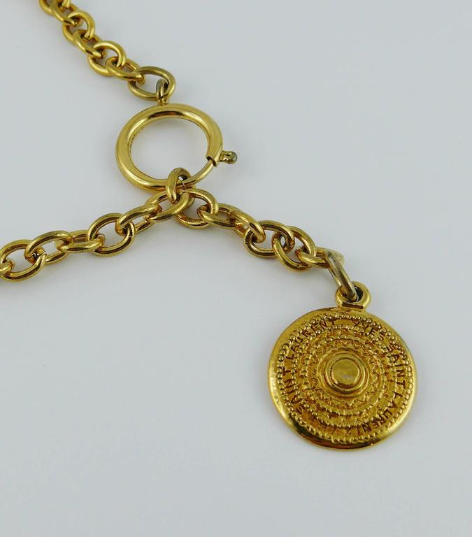 Yves Saint Laurent YSL Vintage Gold Toned Gypsy Coin Necklace 7
