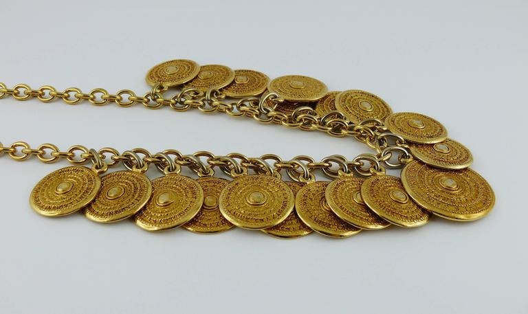 Yves Saint Laurent YSL Vintage Gold Toned Gypsy Coin Necklace 4