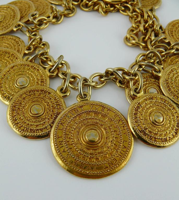 Yves Saint Laurent YSL Vintage Gold Toned Gypsy Coin Necklace 6