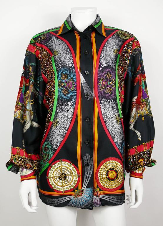 "Hermes Vintage Rare ""Feux d'Artifice"" 150th Anniversary Silk Shirt Blouse 3"