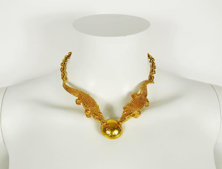 Celine Vintage Rare 1991 Gold Plated Crocodile Necklace 2