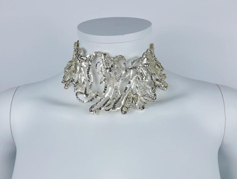 CHRISTIAN LACROIX vintage rare opulent silver toned choker necklace with crystal embellishement.  T-bar closure. Extension chain.  Marked CHRISTIAN LACROIX CL Made in France.  Comes with original box (used, stained).  JEWELRY CONDITION CHART - New