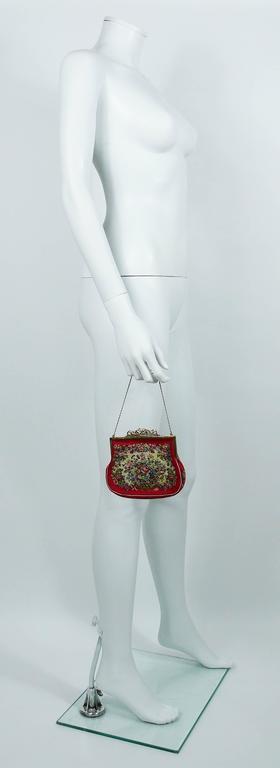 Brown Vintage Floral Tapestry Handbag For Sale