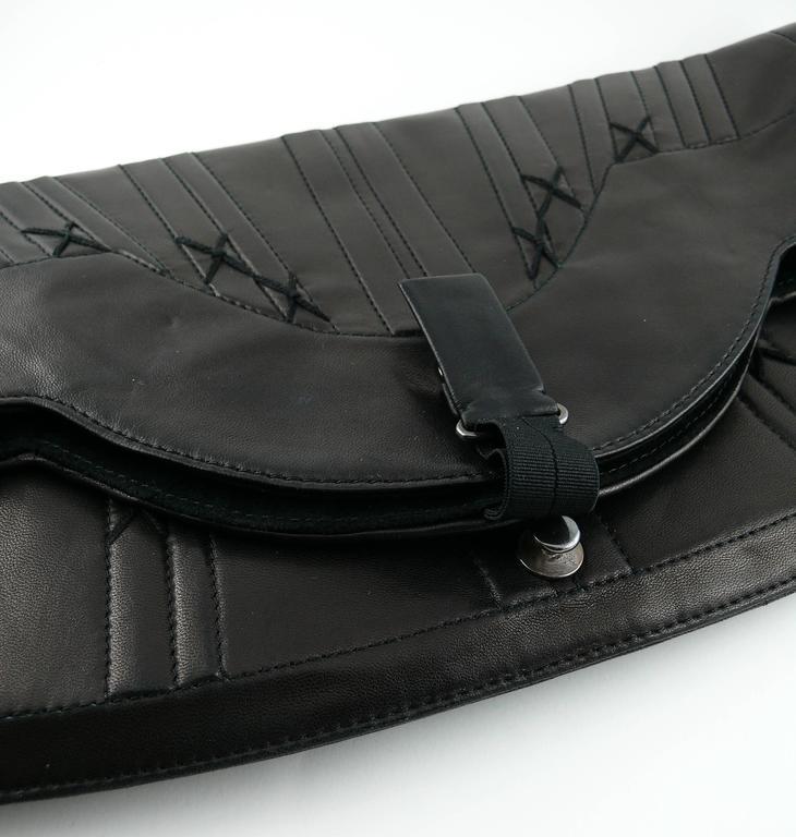 Jean Paul Gaultier Vintage Black Lambskin Corset Bag Clutch For Sale 2