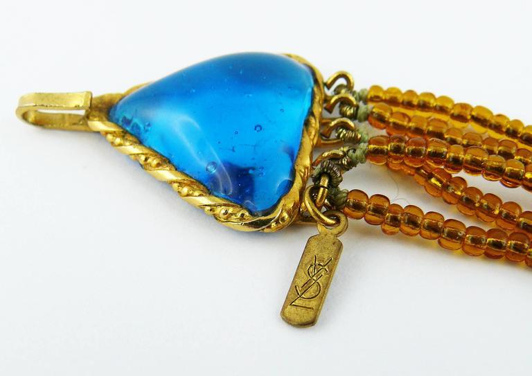 Yves Saint Laurent YSL Vintage Rare Pate de Verre Multi Strand Necklace For Sale 5
