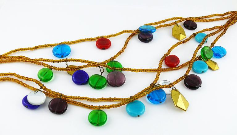 Yves Saint Laurent YSL Vintage Rare Pate de Verre Multi Strand Necklace In Good Condition For Sale In Nice, FR