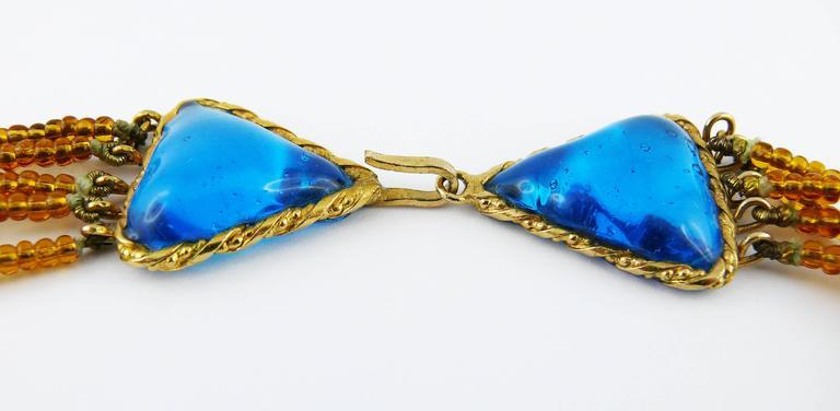 Yves Saint Laurent YSL Vintage Rare Pate de Verre Multi Strand Necklace For Sale 4
