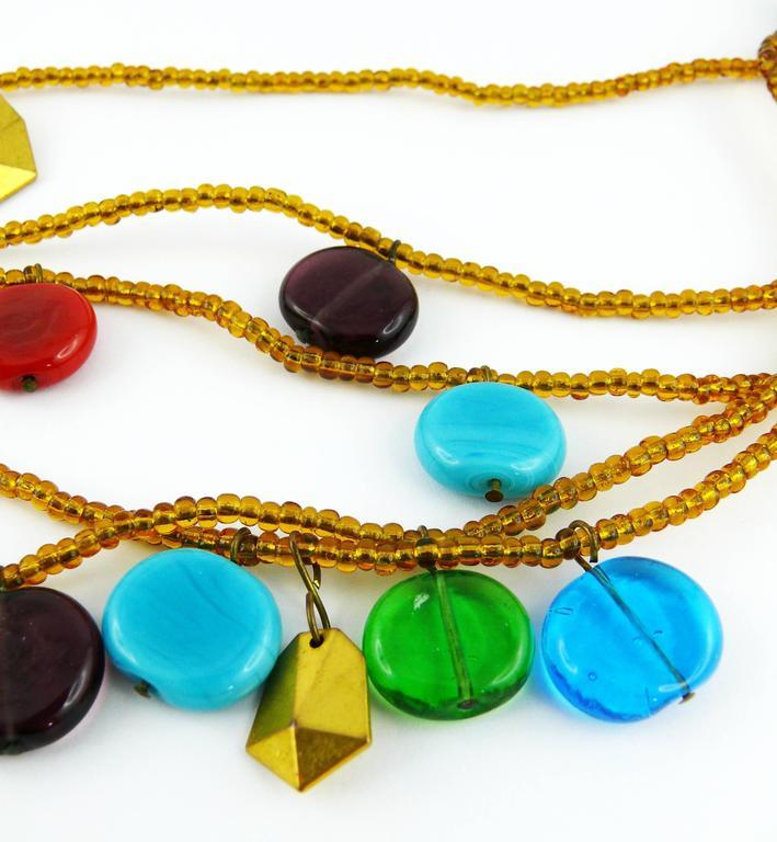 Yves Saint Laurent YSL Vintage Rare Pate de Verre Multi Strand Necklace For Sale 3
