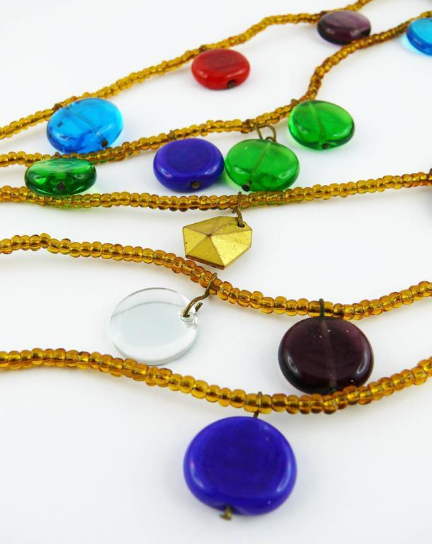 Yves Saint Laurent YSL Vintage Rare Pate de Verre Multi Strand Necklace For Sale 1