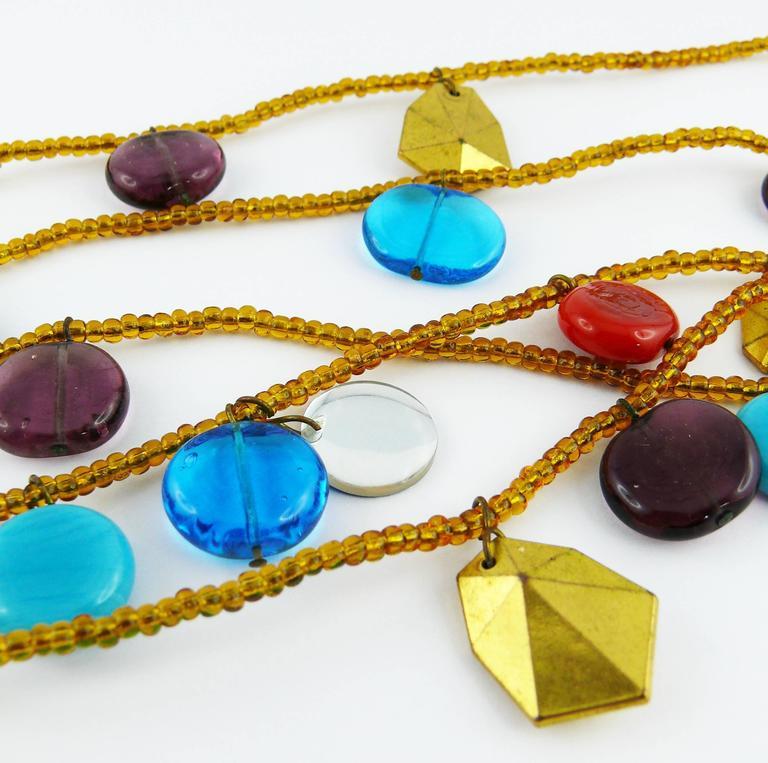 Yves Saint Laurent YSL Vintage Rare Pate de Verre Multi Strand Necklace For Sale 2