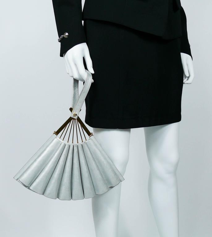 Gray Karl Lagerfeld Vintage Rare Iconic Novelty Fan Bag For Sale