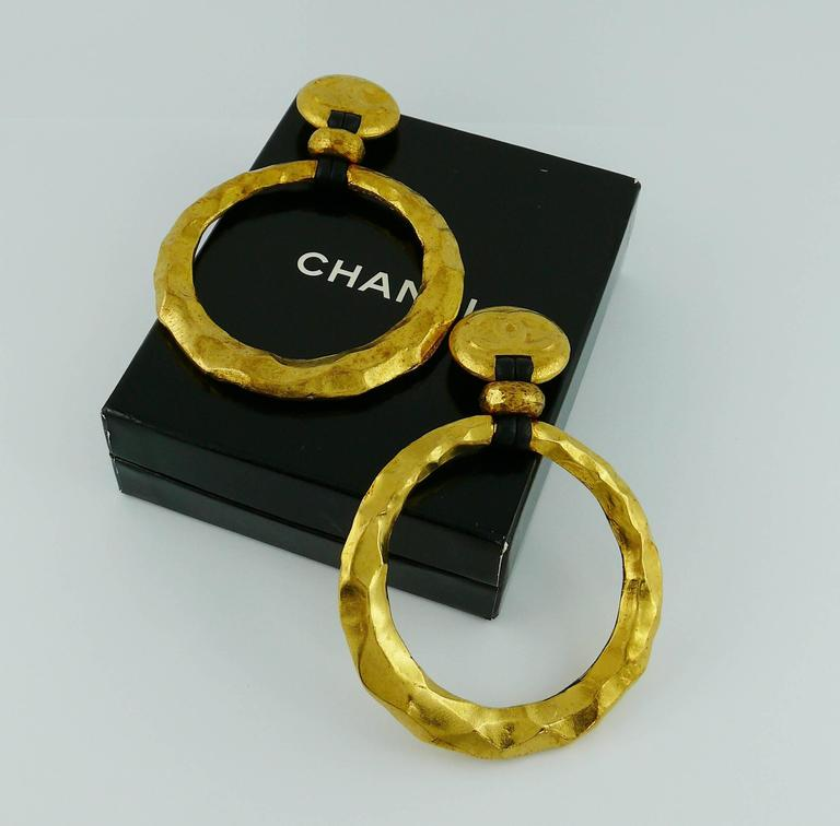 Chanel Vintage Rare Massive Hammered Hoop Dangle Earrings as seen on Beyonce For Sale 1